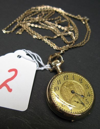2: A POCKET WATCH WITH CHAIN, Elgin Watch Co., model 3,