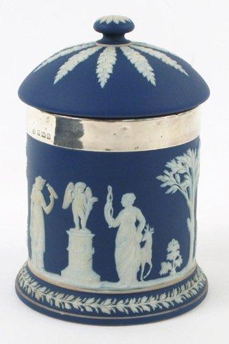 14: A WEDGWOOD BLUE JASPERWARE AND STERLING HUMIDOR, st