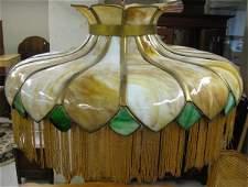 86 A POST VICTORIAN HANGING ART GLASS LIGHT SHADE  Am