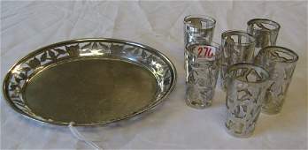 276 SEVEN PIECE STERLING CORDIAL SET consisting of  a