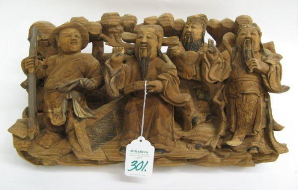 301: A CHINESE SOFT WOOD WALL OR DESK FIGURAL GROUP  ha