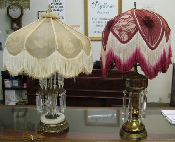 307: TWO TABLE LAMPS WITH VICTORIAN STYLE SHADES. One a