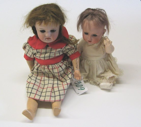 309: TWO GERMAN S PB H BISQUE HEAD GIRL DOLLS, 9 in.  a
