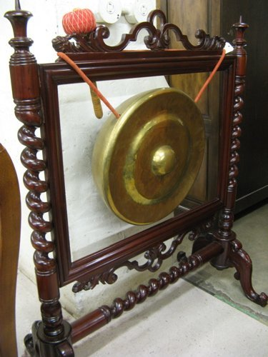 310: BRASS GONG ON MAHOGANY FLOOR STAND, English  Victo
