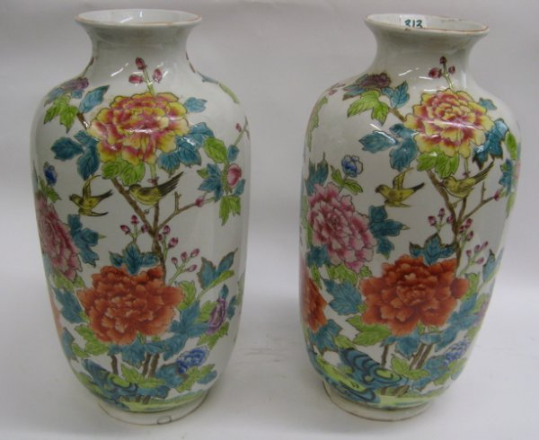 313: A PAIR OF CHINESE PORCELAIN VASES: hand enameled i