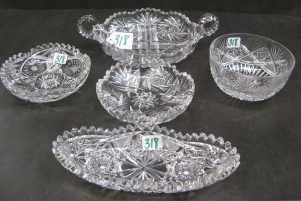 318: FIVE AMERICAN CUT CRYSTAL TABLE ITEMS. Two are  na