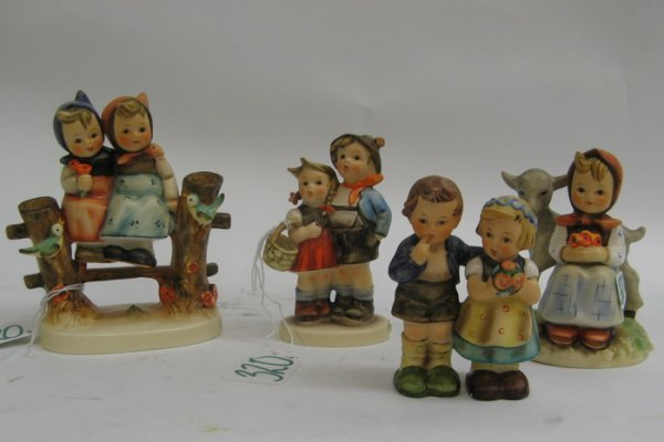 "320: FOUR GERMAN HUMMEL FIGURES, including  ""Coquettes"""