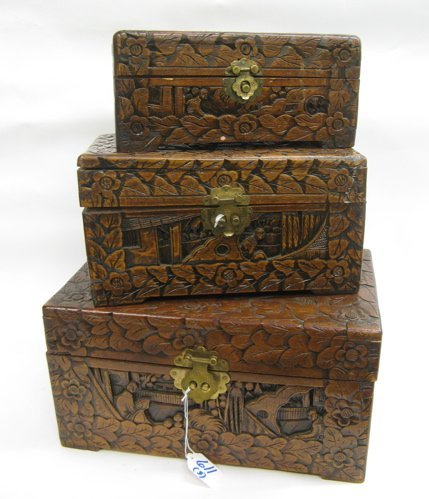 611: NEST OF THREE CHINESE CAMPHORWOOD CHESTS