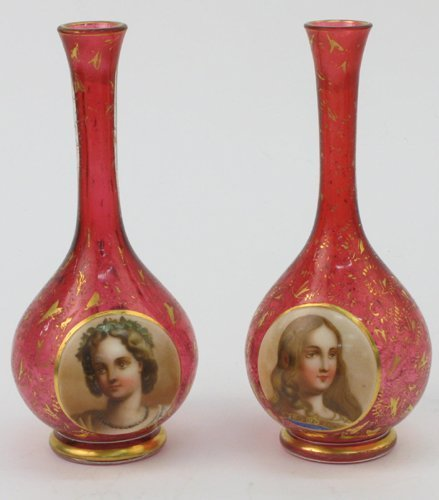615: PAIR CRANBERRY ART GLASS BUD VASES, enameled  with