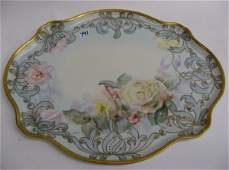 791 A FRENCH LIMOGES PORCELAIN DRESSER TRAY hand  pai