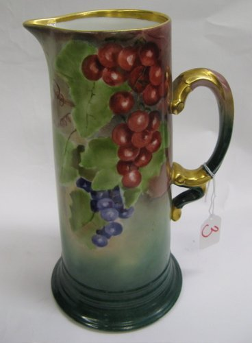 3: FRENCH EARLY 20TH C. PORCELAIN TALL PITCHER,  hand p