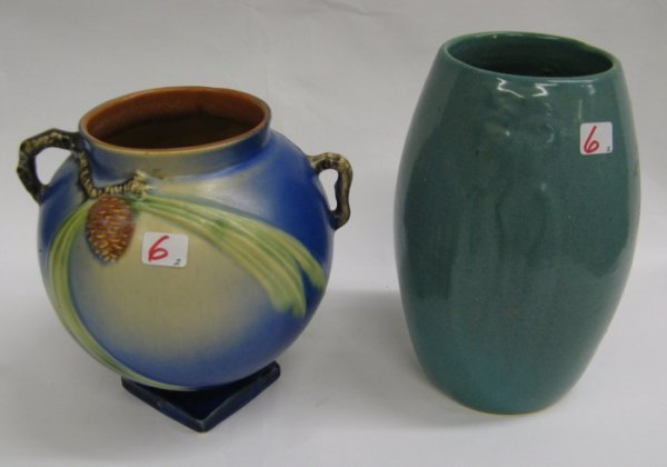 6: TWO AMERICAN ART POTTERY VASES.  One is a  Roseville