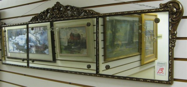 13: AN AMERICAN OVER MANTEL WALL MIRROR. Three  engrave