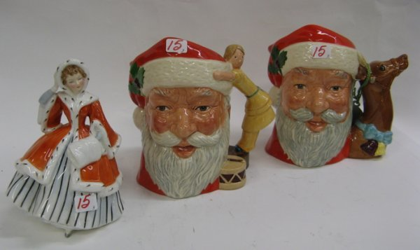 15: TWO ROYAL DOULTON CHARACTER MUGS AND A FIGURE.  The