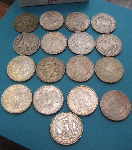 21: SEVENTEEN U.S. MORGAN SILVER DOLLARS, various  cond