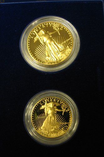 171: 1987 US GOLD EAGLE COIN SET.  The cased US Mint  p