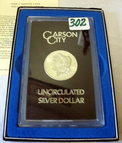 302: U.S. CARSON CITY MINT SILVER MORGAN DOLLAR,  1882,