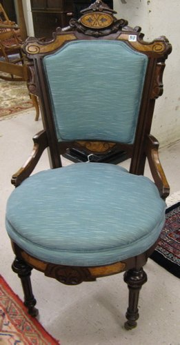 310: VICTORIAN CARVED AND INLAID WALNUT SIDE CHAIR,  Re