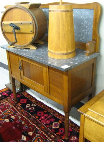 315: LATE VICTORIAN OAK WASHSTAND, English, c. 1900,  h