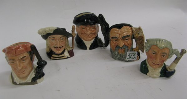 323: FIVE ROYAL DOULTON MINIATURE SIZE CHARACTER JUGS,