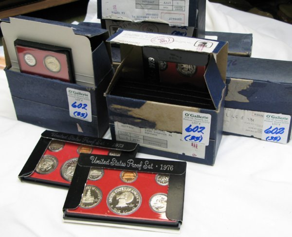 602: THIRTY-FIVE U.S. COIN PROOF SETS, each set  contai