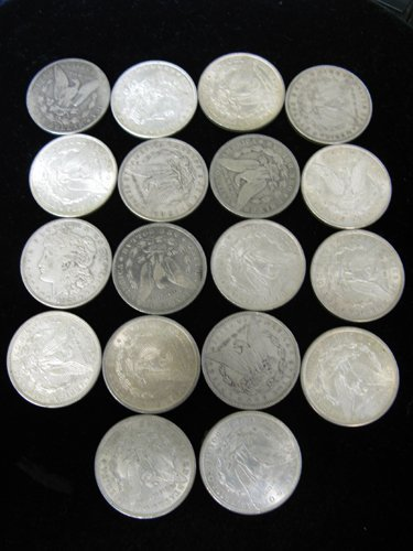 611: COLLECTION OF EIGHTEEN U.S. MORGAN SILVER  DOLLARS