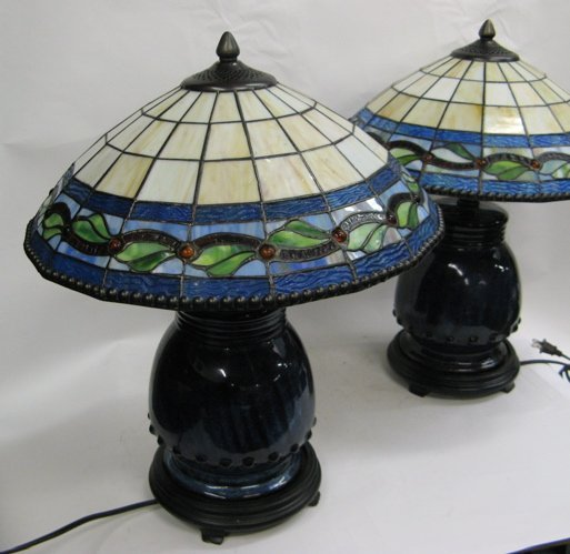 617: PAIR ART DECO STYLE TABLE LAMPS: matching blue  po