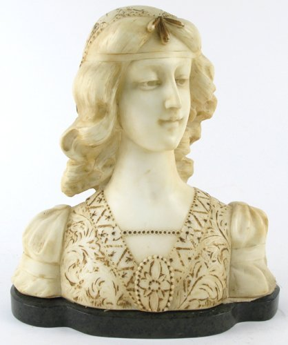 620: ITALIAN ALABASTER SCULPTURE, bust of young woman w