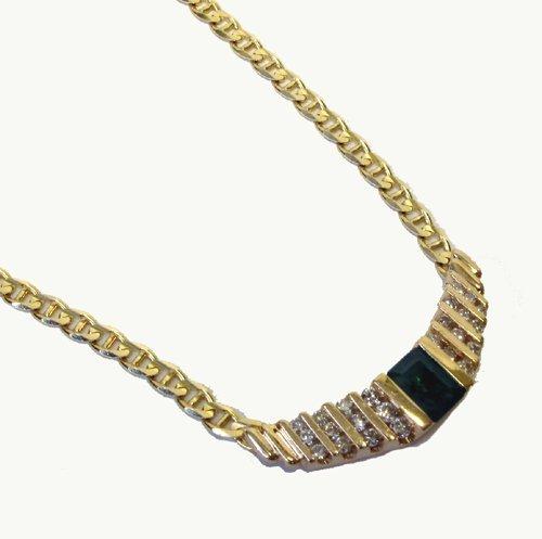 1020: EMERALD, DIAMOND AND FOURTEEN KARAT GOLD  NECKLAC