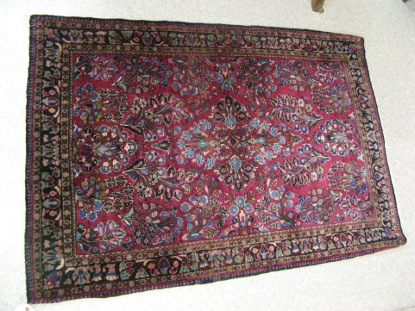 12: SEMI-ANTIQUE PERSIAN SAROUK AREA RUG, hand  knotted