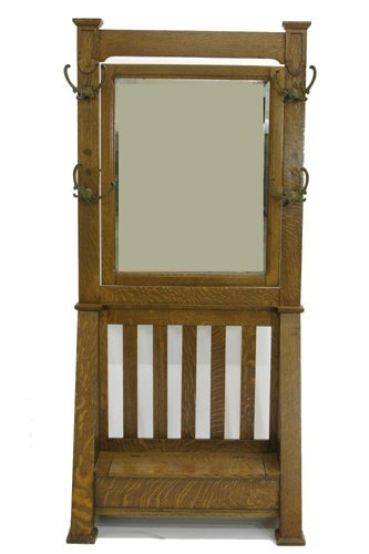 16: A MISSION OAK HALLSTAND, American, c. 1910.  The to