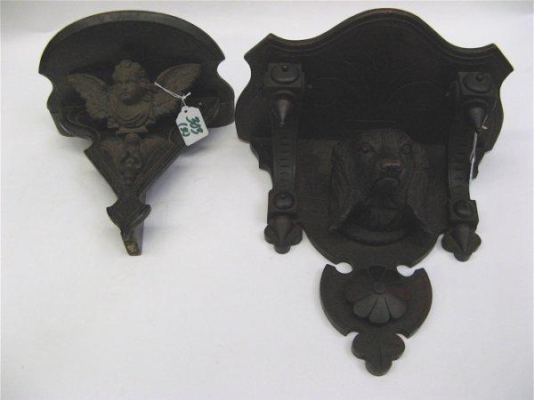 303: TWO GERMAN BLACK WALNUT CLOCK SHELVES: the first w