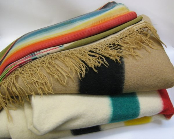 304: TWO HUDSON BAY POINT BLANKETS AND A HAND LOOMED  C