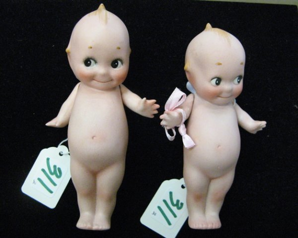 311: TWO ROSE O'NEILL ALL BISQUE KEWPIE DOLLS, 5-3/4  i
