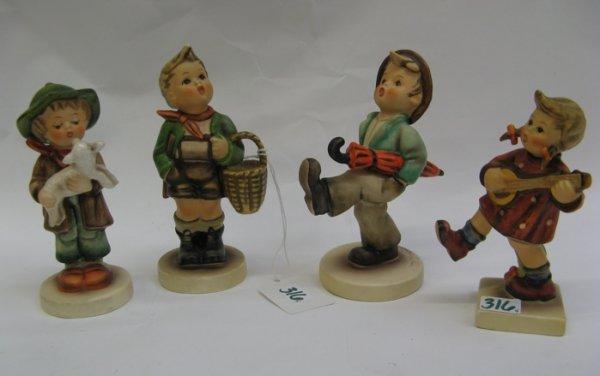 "316: FOUR GERMAN HUMMEL FIGURES: ""Happy Traveler"",  HUM"