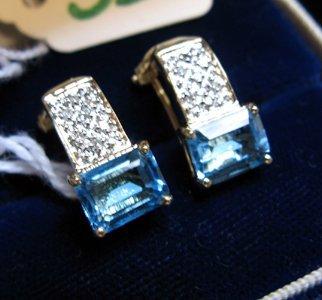 322: PAIR OF BLUE TOPAZ, DIAMOND AND FOURTEEN KARAT  GO