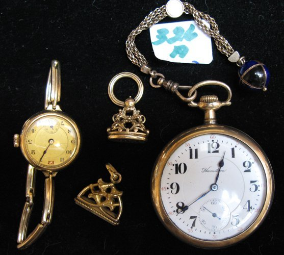 0326A: POCKET WATCH, WRISTWATCH AND TWO GOLD SEAL FOBS: