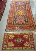 570 TWO SEMIANTIQUE AREA RUGS 37 x 74  Caucasian
