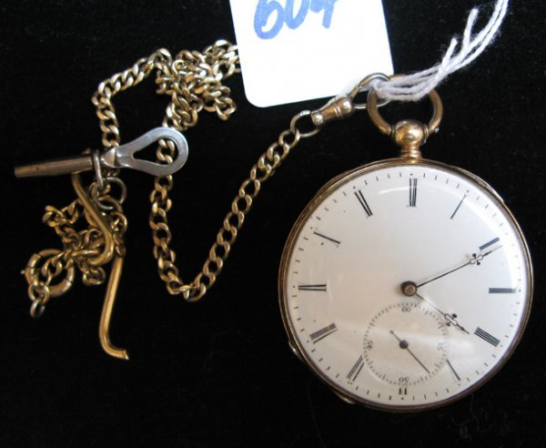 604: FOURTEEN KARAT GOLD CASED OPEN-FACE POCKET WATCH,