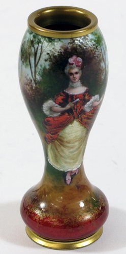 605: A FRENCH ENAMELED SIGNED VASE, portrait of a  beau