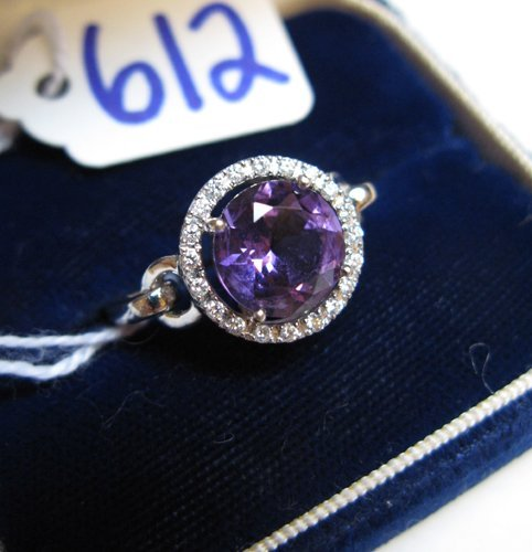 612: AMETHYST, DIAMOND AND FOURTEEN KARAT WHITE GOLD  R