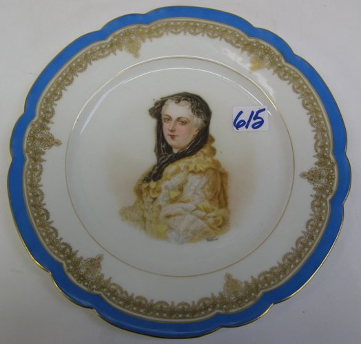 615: FRENCH SEVRES PORCELAIN PORTRAIT PLATE, of Marie L