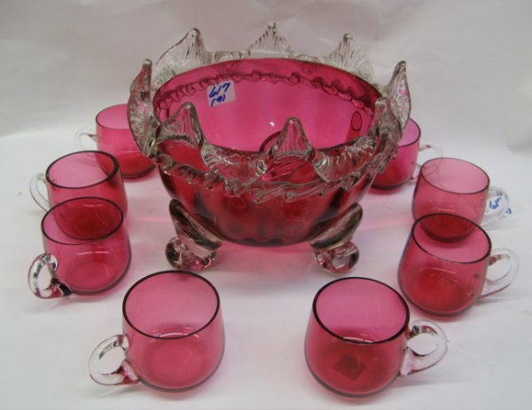 617: AN AMERICAN CRANBERRY FOOTED PUNCH BOWL, 19th  cen