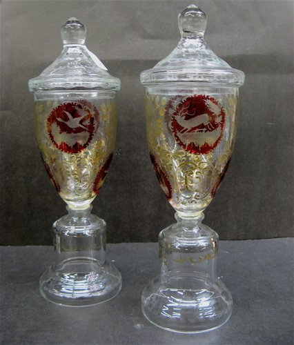 618: PAIR BOHEMIAN RUBY AND CLEAR GLASS POKALS, the  co