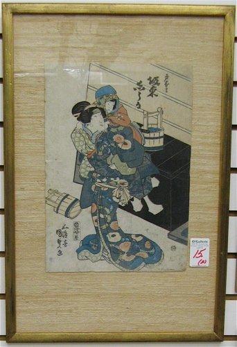15: TWO JAPANESE COLOR WOODCUTS, Oban size:  Kunisada I
