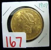 167 US TWENTY DOLLAR GOLD COIN Liberty head type v