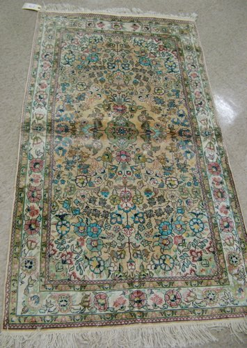 12: HAND KNOTTED ALL SILK WALL OR FLOOR RUG, Sino-Pers