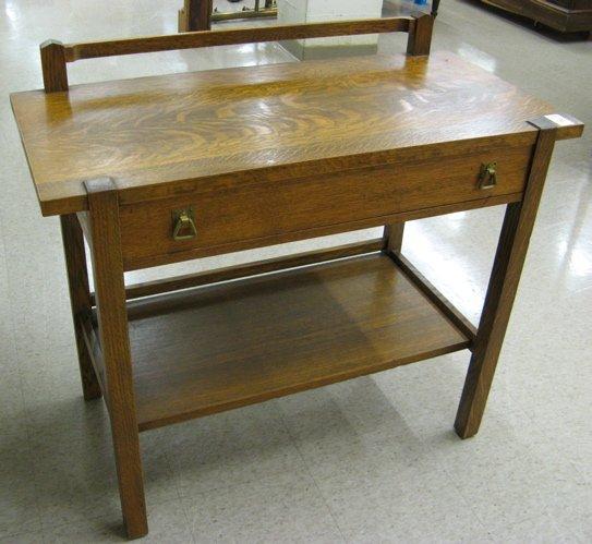 18: MISSION OAK SERVING TABLE, American Arts & Crafts,