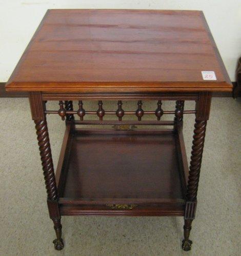 25: VICTORIAN CHERRYWOOD LAMP TABLE, American, last qu