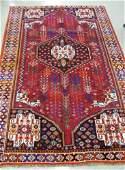 47 PERSIAN SHIRAZ AREA RUG central geometric medalli
